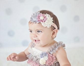 Petti Romper Headband SET,  Mauve Gray Lace romper & baby headband, hair bow, outfit, pettiromper girl