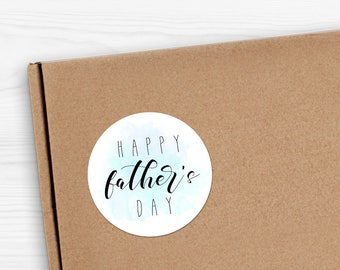 "Happy Father's Day Stickers - 1.625 x 1.625"" Circles 24 Per Sheet - Watercolor Gift Fathers Day Cards For Dad Sticker Set Father Papa Daddy"