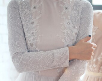 Off white wedding dress - Lorena || Icy gray wedding gown || Long sleeve wedding dress
