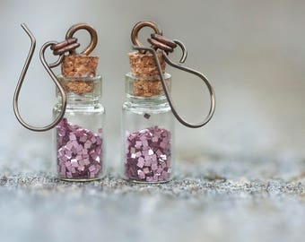 Glitter vial earrings // Many glitter colours // Metal options including fine silver //Made to order
