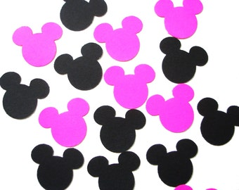 50 Hot Pink and Black Mickey Mouse confetti - Mickey Mouse Party Decorations - No515