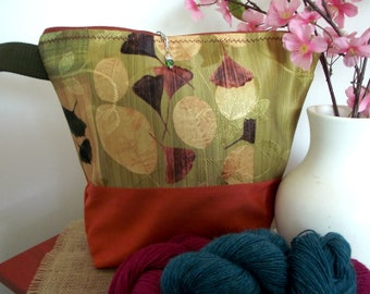 Knitting Project Bag, Floral Vinatge knitting zippered bag medium-large project bag shawl project bag crochet  gift for knitters