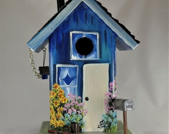 Blue Birdhouse with Chimney , Mailbox , Garden Tools and Charm