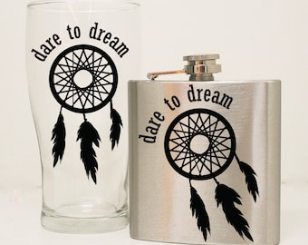 Flask and Mug set, Dare to Dream, Dream Catcher Quote, Flask Gift Set, Girls 21st Birthday Gift for Friend, 6 oz hip flask, Gift for her