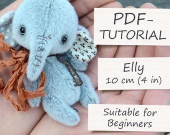 "Miniature Teddy Elephant Pattern. Teddy Pattern. Teddy bear elephant. Soft toy pattern. Teddy tutorial. Teddy bear tutorial (4""/10cm)"
