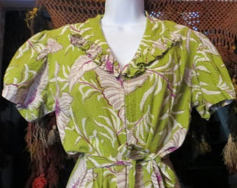 Fab 40s Ruffled Chartreuse and Purple Floral Print Dressing Gown/Robe/Dress