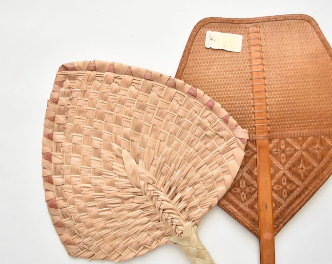 pink delicate woven banana leaf fan / wall basket