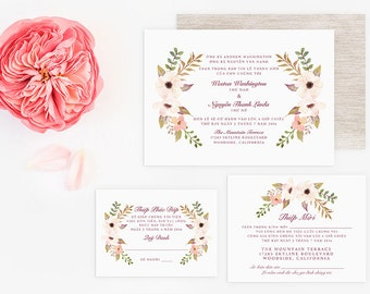 Printable bilingual vietnamese wedding invitation set vietnamese wedding invitation reception and rsvp do it yourself watercolor floral filmwisefo Images