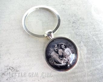 Custom Photo Key Chain - Picture Keychain Personalized Silver Key Charm - Fathers Day Mothers Day Custom Keepsake - Photo Jewelry