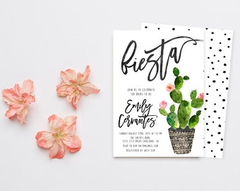 Fiesta Bridal Shower Invitation, Bridal Shower Invite, Cactus, Fiesta Invitation, Mexican Invitation (727)