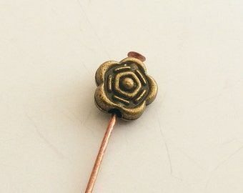 Antique Brass Rose Flower Bead 7mm (18 pcs) Z-N1419-AB