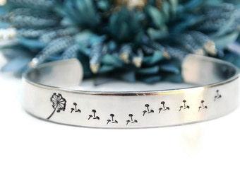 Silver Dandelion Seeds Hand Stamped Cuff Bracelet | Dandelion Jewelry | Make A Wish | Wish Bracelet | Dandelion Bracelet | Flower Girl Gift