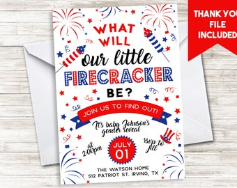 Fourth Of July Gender Reveal Invitation 4th Invite Firecracker Baby Party Digital 5x7