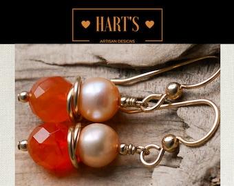 Carnelian Pearl 14K Gold Earrings