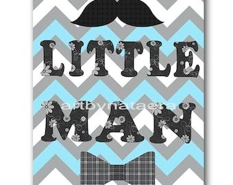 Little Man Baby Boy Nursery Art Print Children Wall Art Baby Room Decor Kids Art Nursery Decor Boy Baby Wall Art Blue Gray Little Man