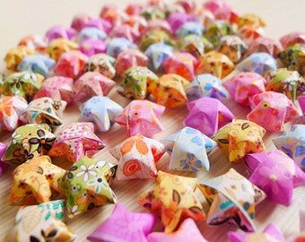 Flower Mixed Origami Lucky Stars-Floral Wishing Stars/Party Supply/Home Decor/Gift Fillers/Embellishment