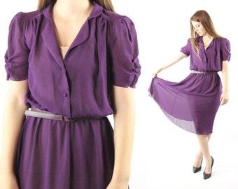 Vintage 80s Secretary Dress Sheer Plum Puff Sleeves Button Up Shirt Waist 1980s Medium M Purple Short Sleeve