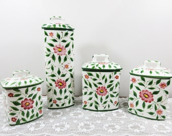 European Casafina Canister Set - 4 Pcs - Hand Painted Florals - Porcelain Storage Containers - Portugal
