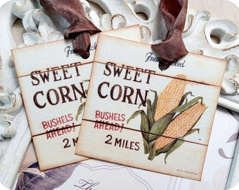 Corn Gift Tags (9) Tags for Food Gifts-Food Labels-Corn Favor Tags-Treat Tags-Fruit Gift Tags-Jar Labels-Shabby Gift Tags-Thank You Tags