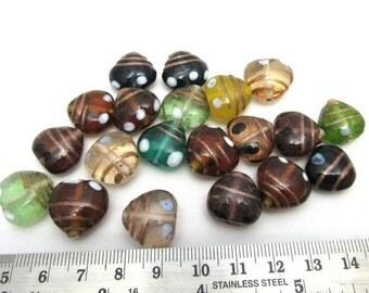 10 Handmade Gold Sand Lampwork Glass Heart Beads Assorted Random Colors (B9d/83g/213b)