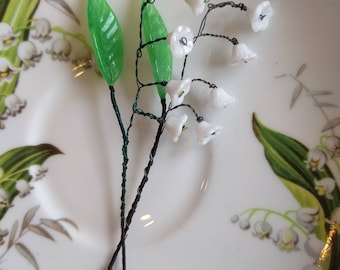 Vintage Lily of the Valley flower - glass, beads, wire