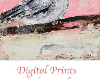 Pink Cottage Chic Chickadee Bird Painting Print. Wildlife Wall Art Print Decor. No 4