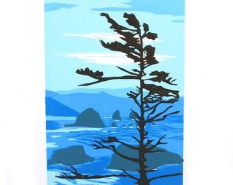 HAYSTACK ROCK Linocut ORIGINAL Hand Pulled Print