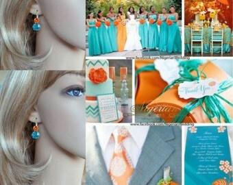 Handmade Swarovski Lt Turquoise & Tangerine Double Crystal Fancy Square Cushion Cut Leverback Earrings, Bridal, Wedding (Sparkle-2632-LTQT)