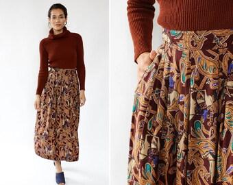 Novelty Print Skirt L • Vintage Midi Skirt • Equestrian Skirt • Flowy Midi Skirt • 80s Midi Skirt • Fall Skirt • Paisley Skirt   SK997