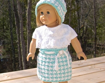 """Crochet Pattern: Houndstooth 18"""" Doll Clothes Cloche, Skirt, Shirt / Permission to Sell Finished Items"""