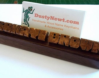 Desk Name and Business Card Holder in Amboyna Burl and Walnut Woods, Custom Carved to Order