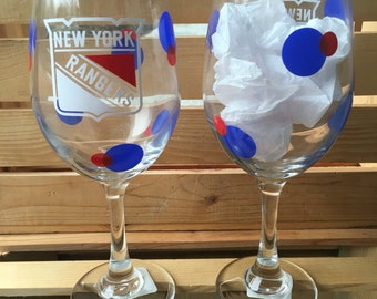 New York Rangers Hockey Wine Glass