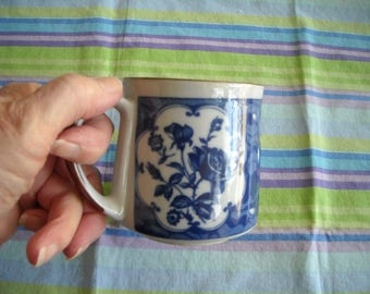 Vintage Cobalt Blue Light Gray & Brown Coffee Cup Mug Floral Design Korea