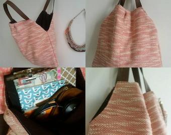 Pink red tweed bag