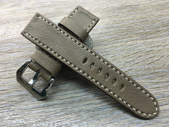Leather watch strap, leather watch band, 24mm watch band, Etoupe Grey, watch band, 24mm watch strap, 26mm strap, FREE SHIPPING
