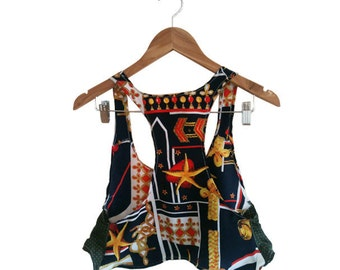 Nautical Gold Navy and Red Rayon and Silk Upcycled Crop Top Camisole size Medium