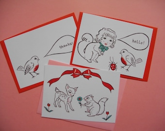 Gift Cards - Set of three Note Cards with envelopes - Birthday card, thankyou card, - Illustration prints post cards