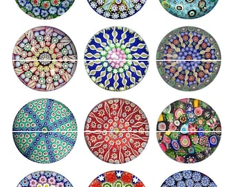 "1"" Inch Millefiori Flatbacks, Pins or Magnets 12 Ct."