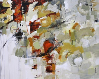 """MODERN ABSTRACT Painting """"Chandeliers"""" Acrylic on 40"""" x 40"""" canvas Direct from the studio of Elizabeth Chapman"""