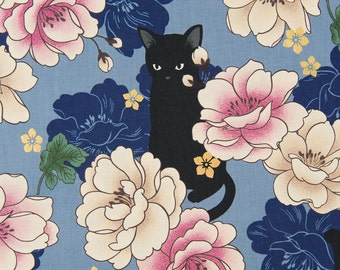 HALF YARD Quilt Gate Hyakka Ryoran NEKO cats in blue cotton fabric HR3110-11C