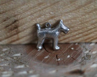 vintage silver Terrier dog charm - 835 purity - for charm bracelet or as pendant.