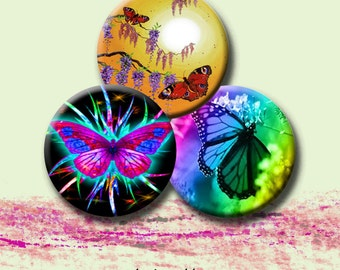 """BUTTERFLIES -  Digital Collage Sheet - 1.313"""" circles for 1"""" button images.  Instant Download #14."""