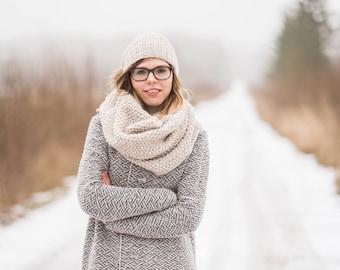 women hat scarf set - matching knit scarf hat set - arm knitting - matching set scarf hat - arm knit scarf - knit matching hat scarf set