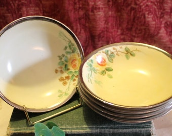 Antique Rosenthal Selb Bavaria Set of 5 Cereal Soup Bowls - Hand Painted Yellow Flowers with Sterling Silver Rim, Signed