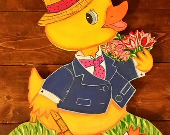 Made To Order Vintage Style Easter Duck Door Hanger / Easter Duck Decoration / Easter Boy Duckie Wall Decoration / Easter Sign / Duck Sign & Wooden Chocolate Bunny Chocolate Bunny Door Hanger Easter