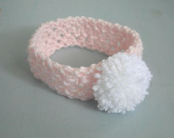 Baby Headband with PomPom, ear warmer, Newborn to 3 plus Months, Stretch Headband, Handmade, Ready to Ship