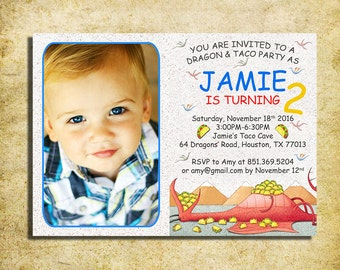 Dragons Love Tacos Invitation - Dragons Love Tacos  Birthday Party Invite With Photo - Printable And Digital File