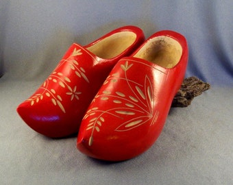 Vintage Holland Dutch Wooden Clogs // Bright Red // Pretty Carved Design // Used/Refurbished // Wearable // Size Unknown // Decorative