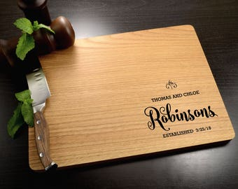 Personalized Wedding Gift - Engraved Wood Cutting Board - Custom Wooden Cutting Board - Eco-Friendly Housewarming Gift - Anniversary Gift