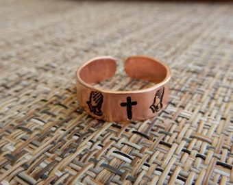 Praying Hands and Cross Copper Ring
